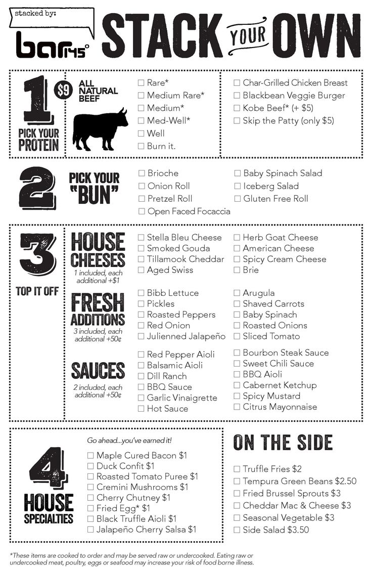 build your own burger menu - Google Search