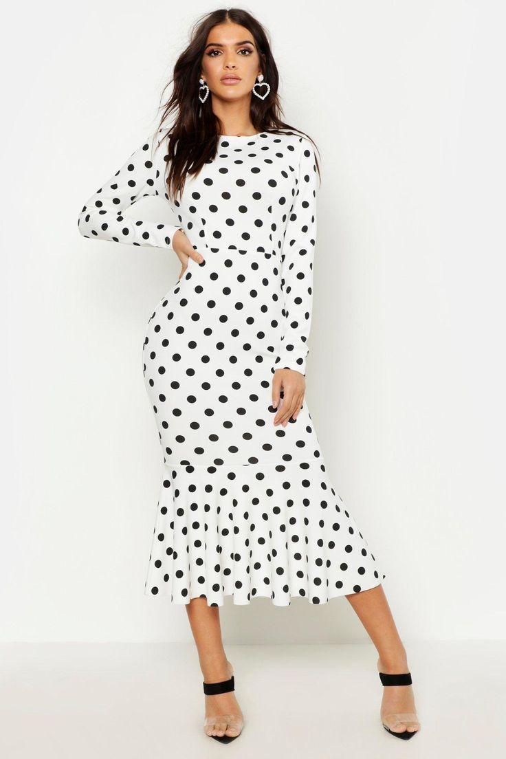 polka dot fishtail long sleeved midaxi dress kleid punkte kleider