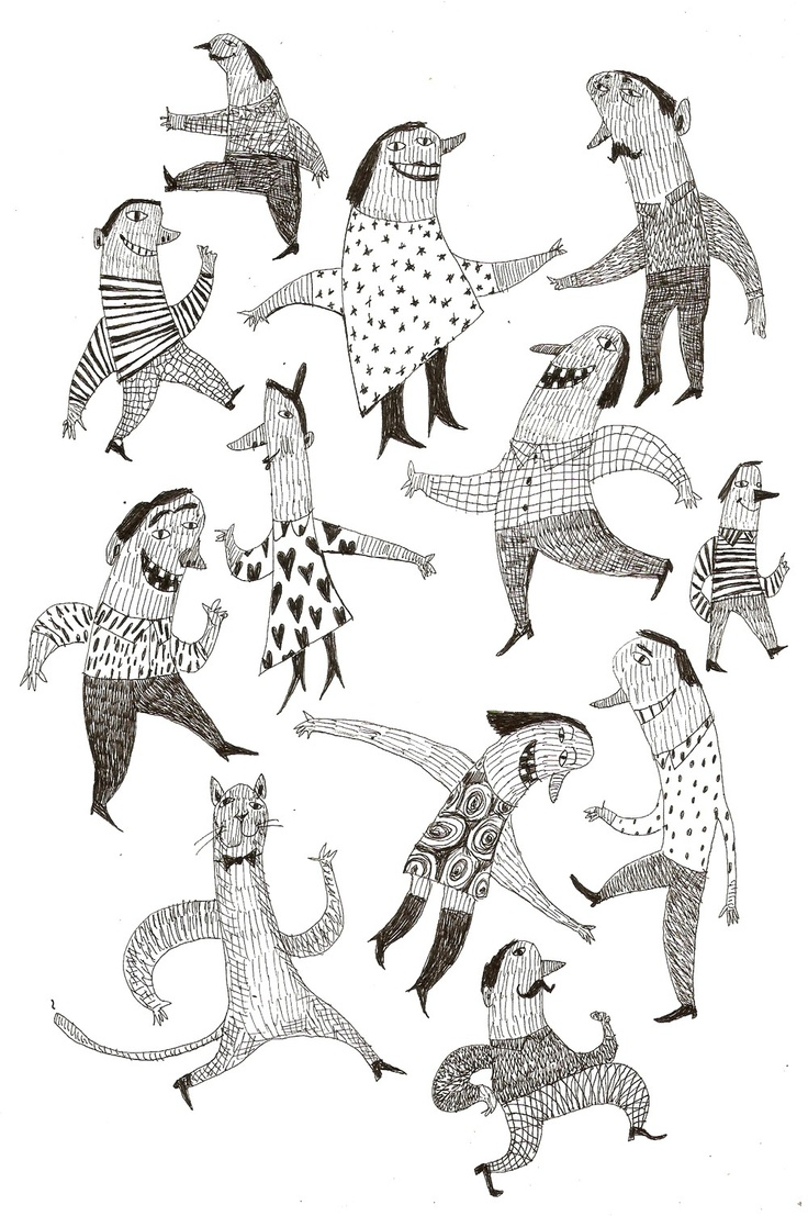 Good mood / ORIGINAL DRAWING / Pen drawing / Party / Jumping / Dancing / Pattern / Sketch / Funny Cat. $50.00, via Etsy.