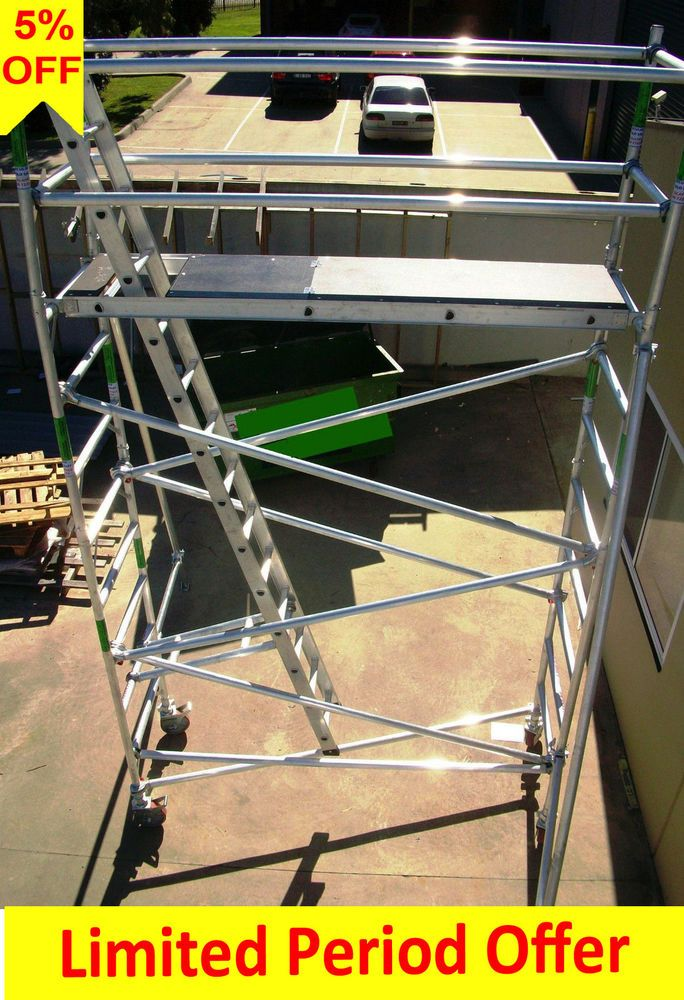 Aluminium Scaffolding 450kg Folding Mobile Scaffold Tower - 6.5m Access Height