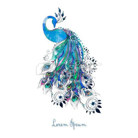 Greeting watercolor card with peacock. Frame of peacock made in vector. Perfect cards, or for any other kind of design, birthday and other holiday.Seamless hand drawn map with peacock. photo