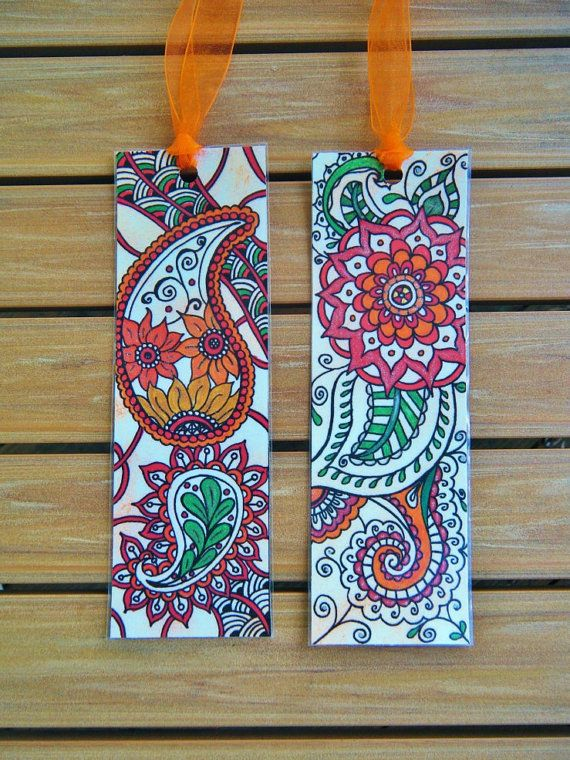 Paisley Bookmarks - TWO Laminated Orange Zentangle Design Bookmarks with Ribbon