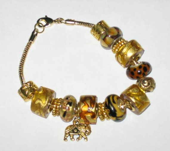 Jungle Love Euro Style Charm Bracelet by treasuresbycathy on Etsy, $59.95