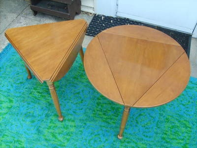 Perfect Willett MT Holly Vintage Triple Drop Leaf Triangle Round Table Pair  Furniture | EBay Ugly Wood