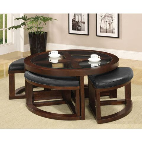 Crystal Cove Classic Style Round Coffee Table Set With Ottomans