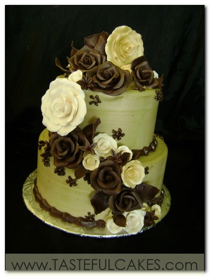 Google Image Result for http://tastefulcakes.com/tastefullcakes/images/pg-4-number-6-sage-green-two-tier-chocolate-roses-ivory-with-cascade-of-flowers-elegant-birthday-bridal-shower-anniversary-cake.jpg