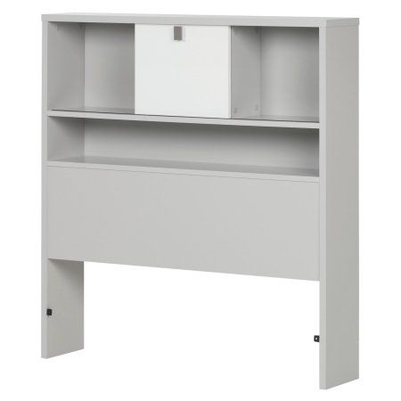 south shore cookie twin bookcase headboard soft gray and pure white