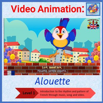 French immersion video animation by Language Learning Lab aims to enable children to listen, learn and express key vocabulary from this popular French song - Alouette, gentille, alouette (148 seconds)!This level 1 resource contains the following:* Alouette in video animation* Large and small images of key vocabulary from the song* Additional images of body parts so that the song lyrics can be adapted* Checklist of key vocabularyIt is well known that music and singing are great ways to…