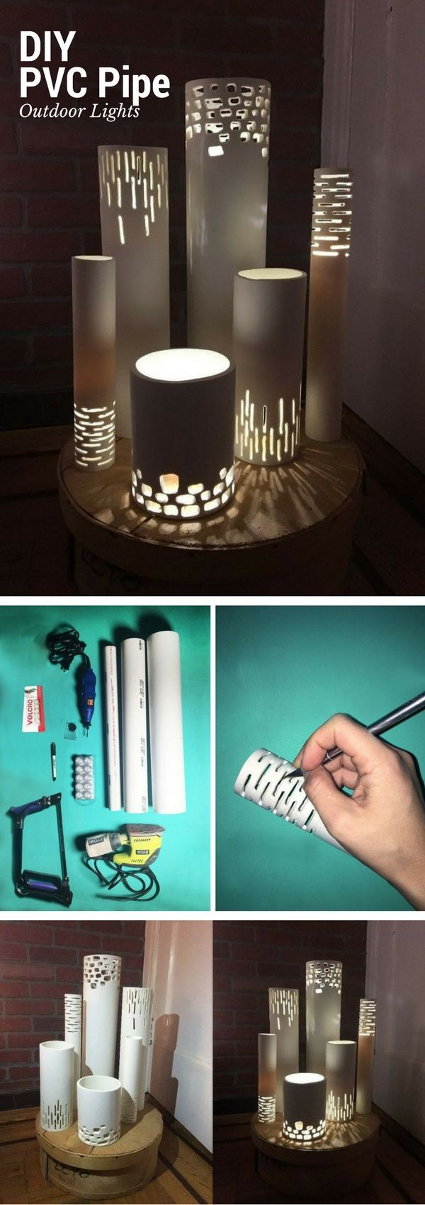 Check out the tutorial on how to make easy DIY outdoor pvc pipe lights {wine glass writer}