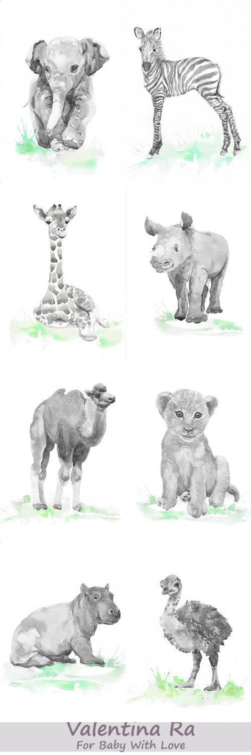 Neutral Nursery Decor Safari Art Set of 6 Prints Baby Watercolor Painting Boy Girl Animals Gray Green Wall art Watercolour Print  Set of 6 prints -   high quality fine art prints of my original watercolor painting. It is the work of a watercolor series Portraits of the Heart    Size paper: 14,8 × 21cm,5 4/5 × 8 1/4, A5 (with white borders) - 36.00 $  21 cm x 29,7 cm, 8 1/4 x 11.5/8, A4.(with white borders) - 68.00 $  29,7cm × 42cm, 11,69 × 16,54, A3(with white borders) - 122.00 $   Other…