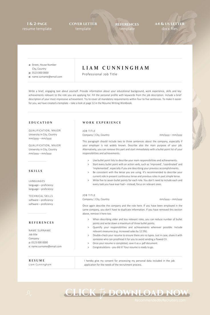 12 · Minimalist resume template tailored to corporate