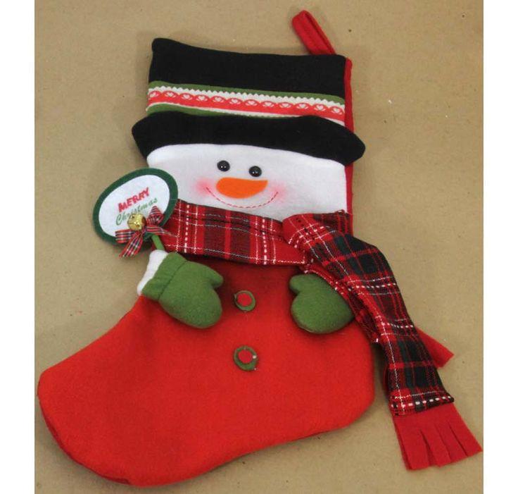 "Felt Snowman Christmas stocking Measures: 21"" length X 11"" width"