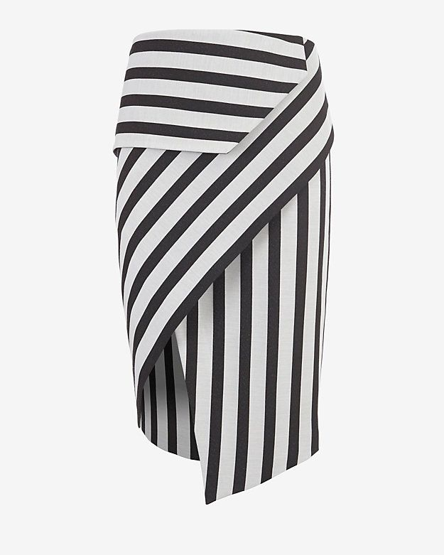 mason by michelle mason Asymmetric Wrap Stripe Skirt: A piece that transitions easily between seasons-- the asymmetric wrap skirt. Zipper closure at rear. Lined. In black/chalky white stripes. Model Measurements: Height 5'10; Waist 25 ; Bust 34 Length from waistline to hem: 26 at longest ...
