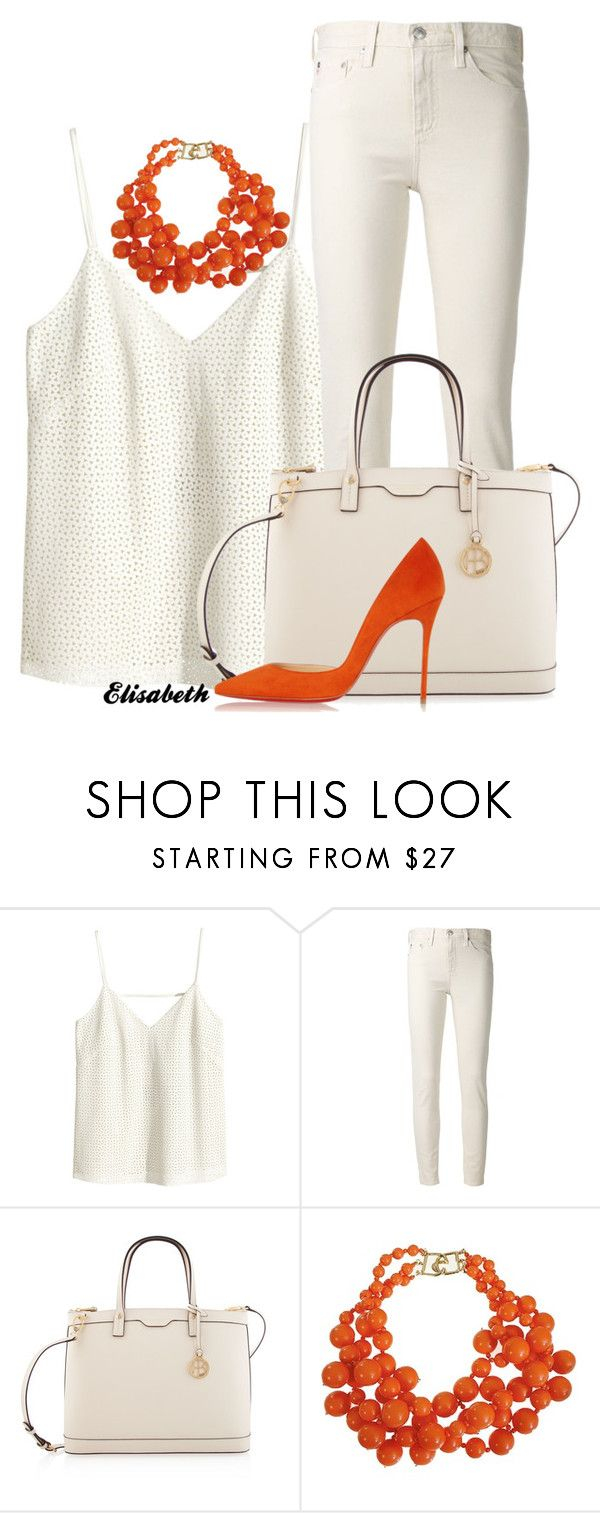 """White Leather"" by lbite ❤ liked on Polyvore featuring H&M, AG Adriano Goldschmied, Henri Bendel, Kenneth Jay Lane and Christian Louboutin"