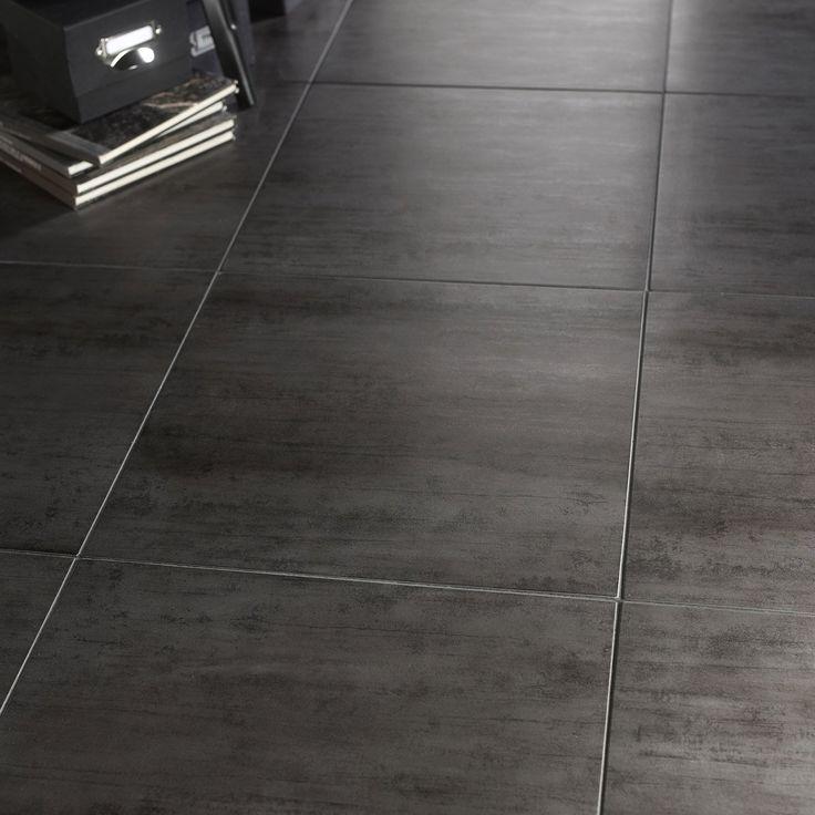 Carrelage gris foncé effet béton