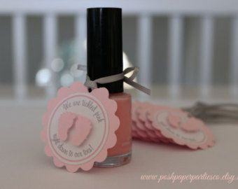 Baby Shower Favor Tags for Nail Polish -Gray and Pink - Little Toes - Baby Feet