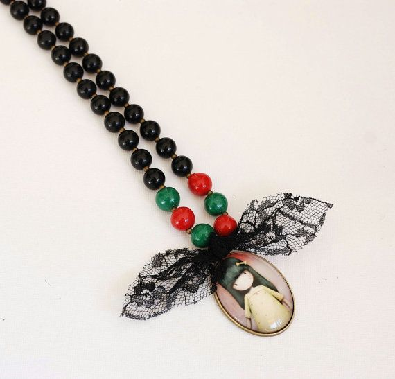 Kawaii black necklace. Beads chain and by MeandMamaCreations