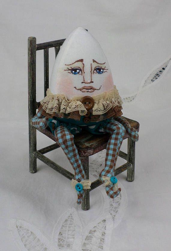 OOAK Classic Humpty Dumpty Cloth Art Doll by Paula McGee at