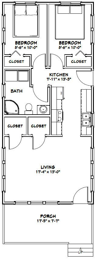 18x40 Tiny House -- #18X40H4G-- 720 sq ft - Excellent Floor Plans