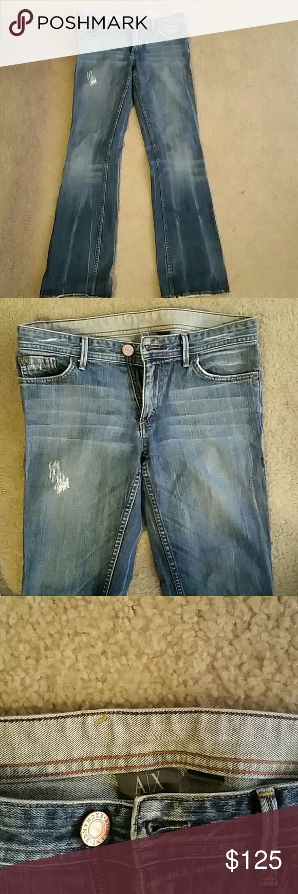 Womens Armani Xchange Jeans Medium color Denim, used but great condition. Fray on front part of the style. Armani Exchange Jeans Boot Cut