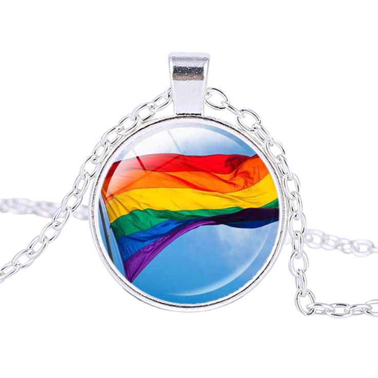 Men Gay Pride Women Necklace Rainbow Flag LGBT Lesbian Pendant Necklace Jewelry Homosexual Silver Plated Chains ras de cou  #Affiliate