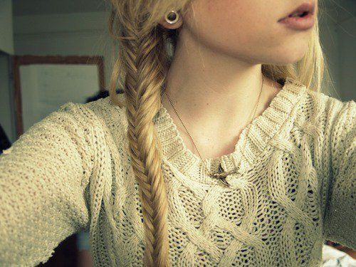 Love everything...sweater, gauged ear, necklace and fishtail braid :)