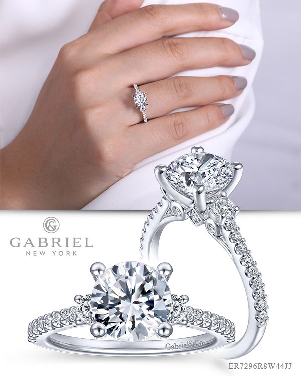 903b26020 14k White Gold Round 3 Stones ENGAGEMENT RING. Discover luxury engagement  rings, wedding rings and anniversary bands from Gabriel & Co., a quality  jewelry ...