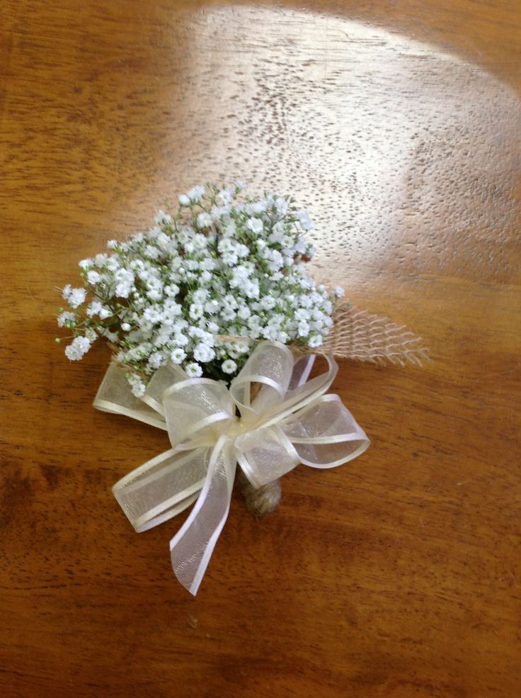 Simple babies breath corsage garden wedding