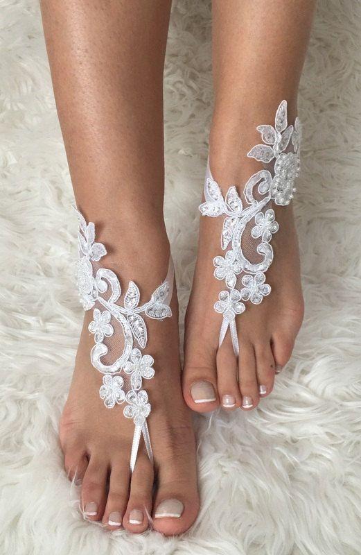sandalias pies descalzos de encaje blanco 6 por LaceBarefootSandals