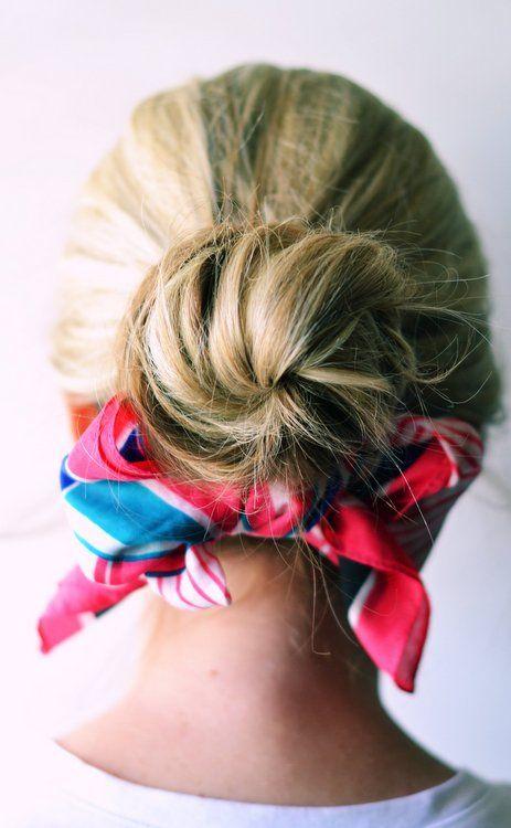 \\\ Summer scarf ideas \\\: Hair Ideas, Summer Scarves, Summer Scarfs, Scarfs Style, Scarfs Ideas, Messy Buns, Summer Hairstyles, Hair Scarfs, Low Buns