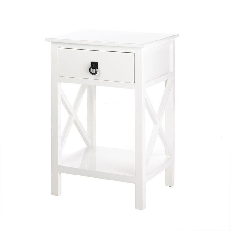 This sleek modern accent table will look great as a side table, night stand or any spot that needs a striking accent! The table, lacquered finished in white, also features a pullout drawer with a dark