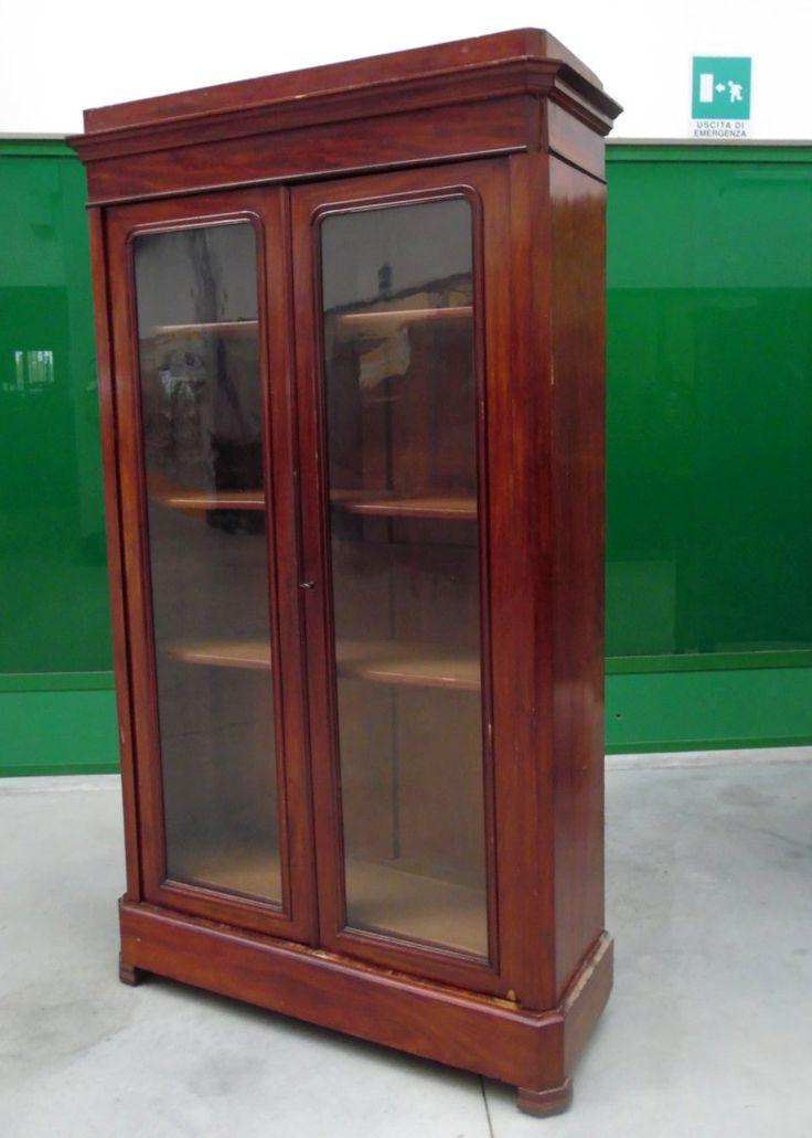Libreria vetrina in mogano Napoleone III metà '800 vetri originali