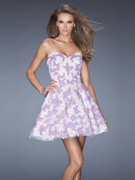 2015 New Lilac Sweetheart Short Lace A Line Cocktail Homecoming Dress Clf0032