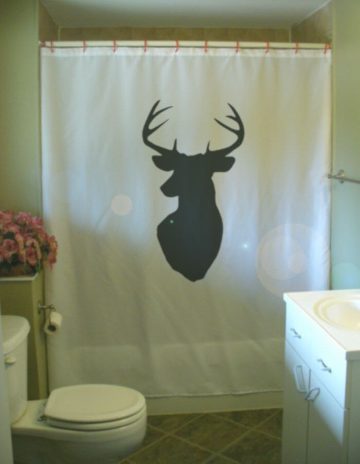 Stag Head Shower Curtain Wall Mount Antler Deer Hunting Trophy Kill Point Bathroom  Decor Kids Bath