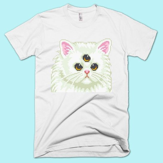 Cyber Cat T-Shirt   Unisex S- XXL   Tumblr Cute Cool Kawaii Seapunk Clothing Cyber Vaporwave