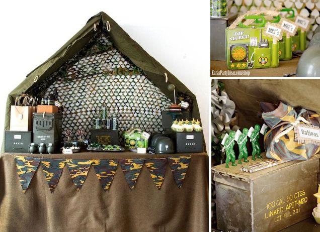 Army Camouflage Themed Birthday Party Ideas Planning via Kara's Party Ideas - www.KarasPartyIdeas.com #army #boy #party #ideas