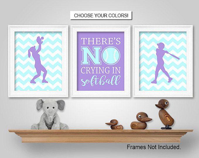 PRINTS or CANVAS or Printable Digital Download - Softball Wall Art - Softball Bedroom Wall Decor
