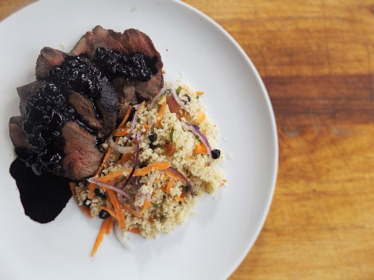 Just a Farmers Wife Venison back strap with a Blackcurrant Reduction and couscous salad. ViBERi Organic NZ