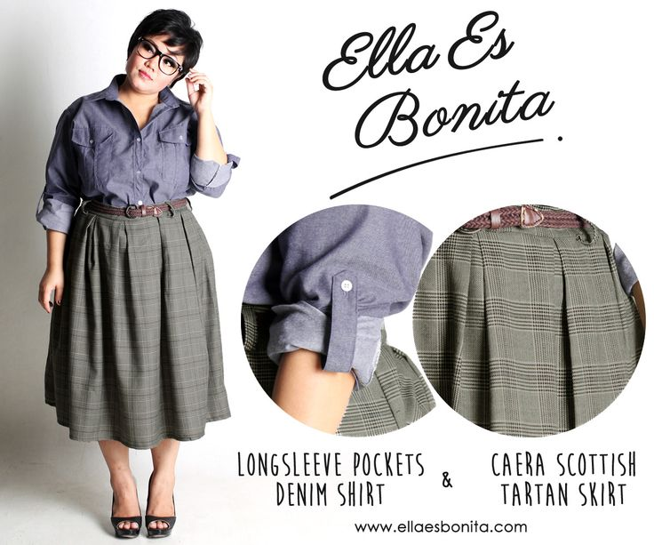 Longsleeve Pockets Denim Shirt & Caera Scottish Tartan Skirt - This vintage shirt and skirt features high quality chambray denim for shirt and thick acrylic wool for skirt which specially designed for sophisticated curvy women originally made by Indonesian Designer & Local Brand: Ella Es Bonita. Available at www.ellaesbonita.com