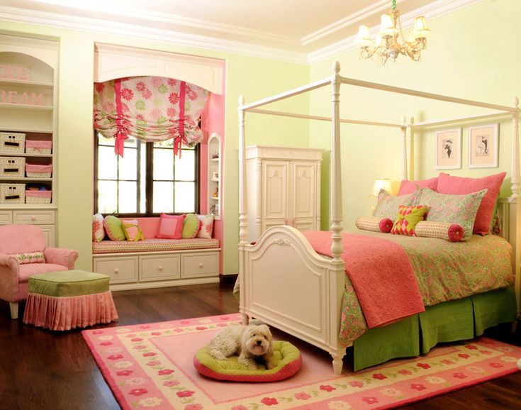 sweet girl's bedroom in pink and green..I love these colors together.