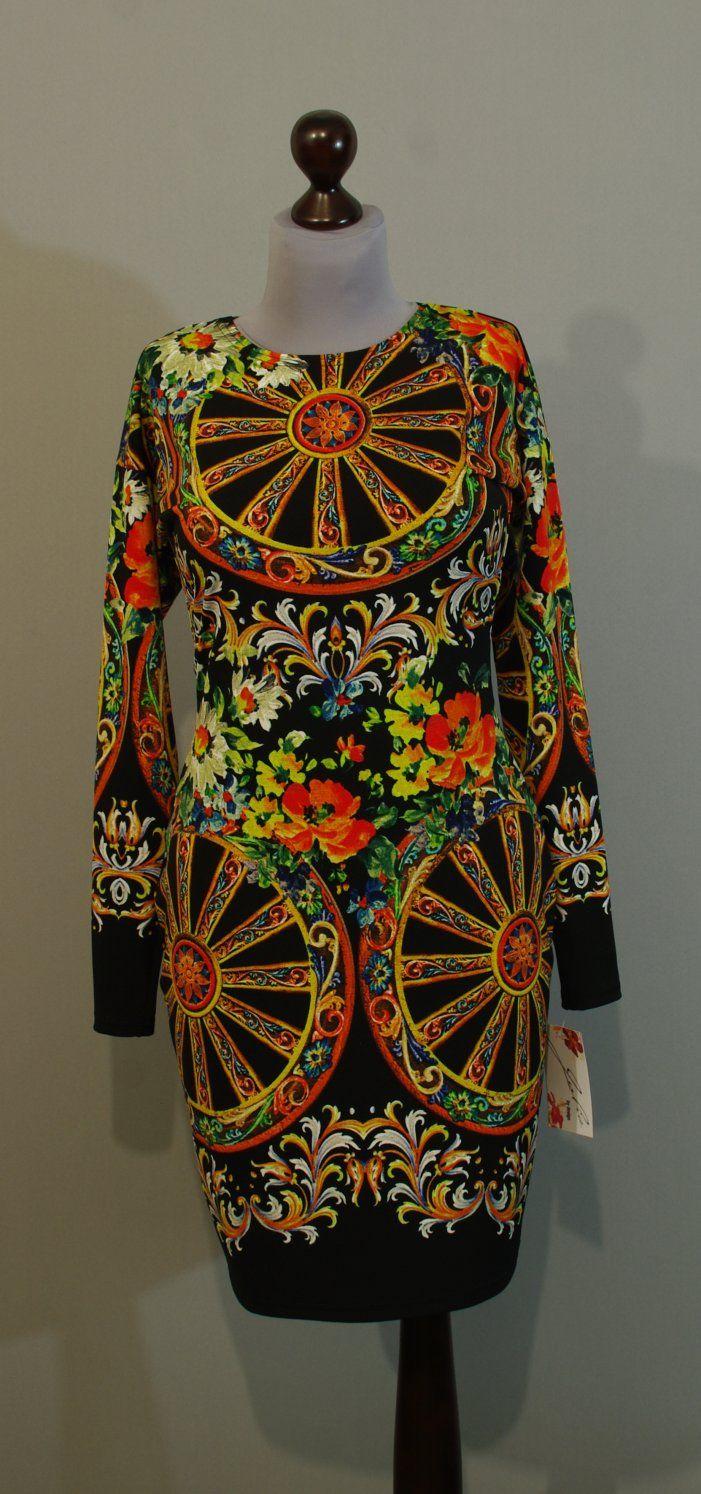 Черно-оранжевое платье с длинными рукавами, Украина купить интернет (110)