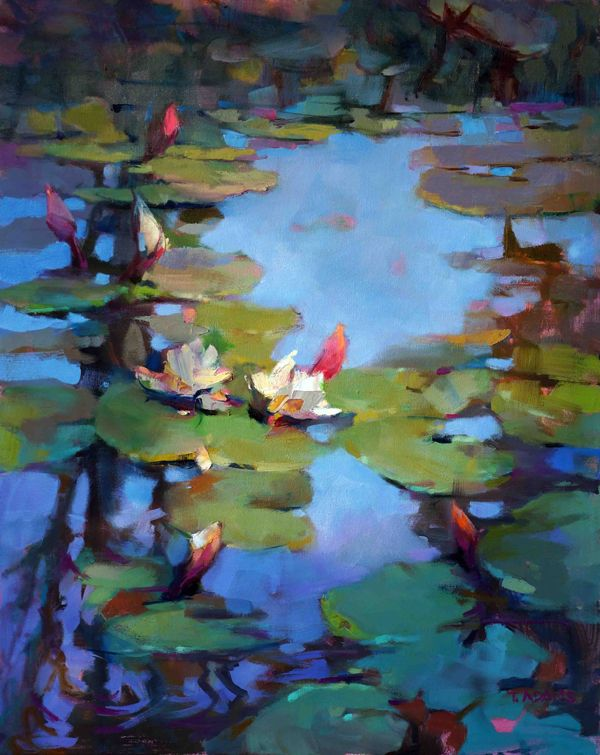 """<B>""""Water Lilies and Reflection""""</B> <br> <font color=""""red""""><B>NEW</B></font> <br> 30"""" x 24"""""""