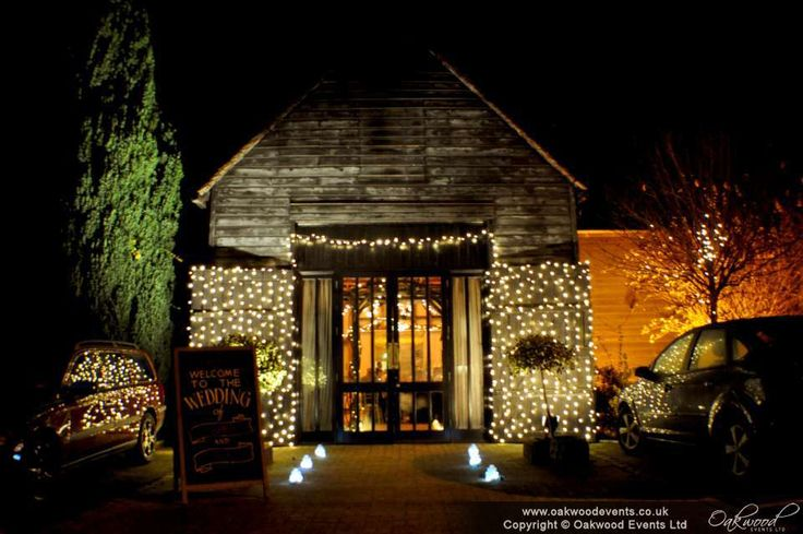 Outdoor fairy light curtains at the Olde Bell Hurley for a winter wedding
