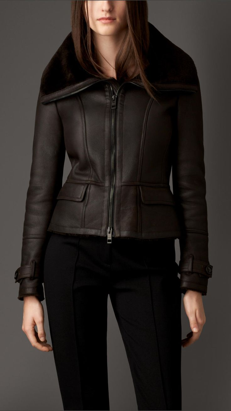 Shearling Skirted Aviator Jacket   Burberry; been wanting this