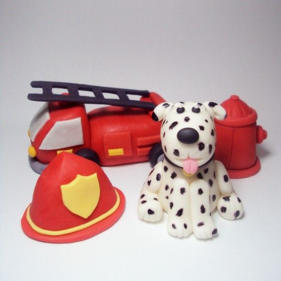 Fondant fire truck cake toppers - LCcakes.etsy.com