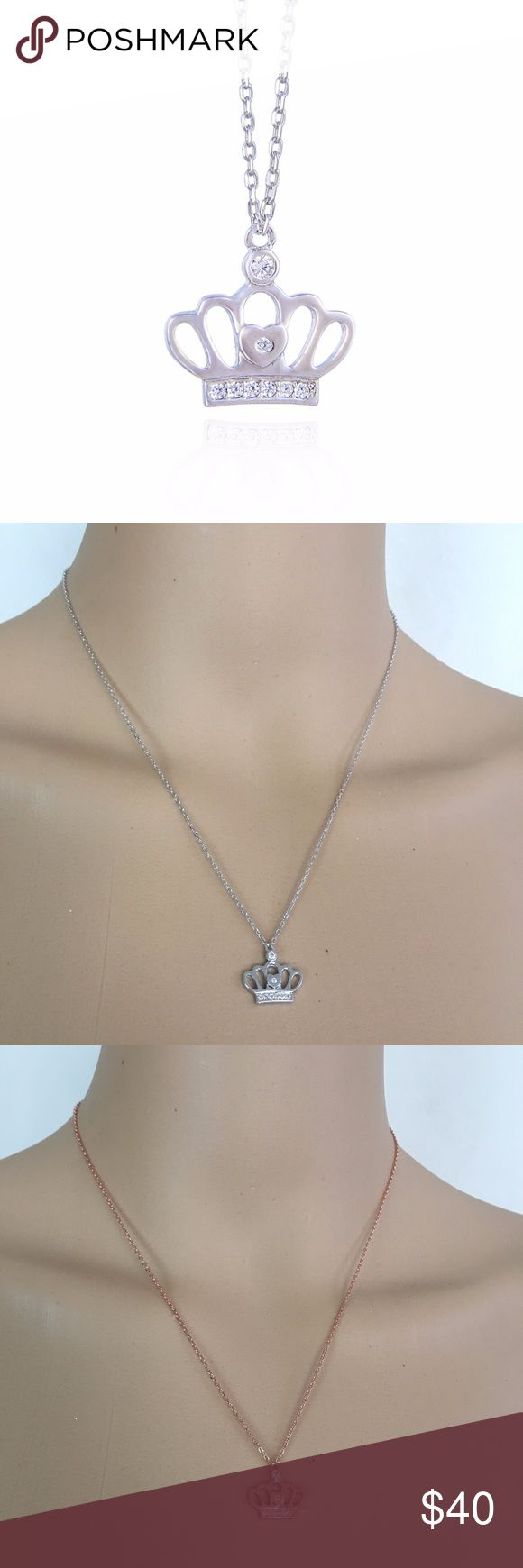 Quinn crown design wth zircon stone woman necklace Brand New - 2 color option - with zircon stone. Product is genuine 925 Sterling Silver. Perfect gift for all special days. 100% safe for sensitive skin. You can keep long time wearing. All items are well packed and come with fine gift box. No wrapping needed. This splendid necklace pendant with the best quality you can find with simulated diamond and sterling silver.  It has Diamond Standard of technology. All of the stone process is done…