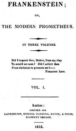 Frankenstein 1818 edition title page - Ingolstadt, Germany, is a setting in the novel Frankenstein by Mary Shelley, where the scientist Victor Frankenstein creates his monster.