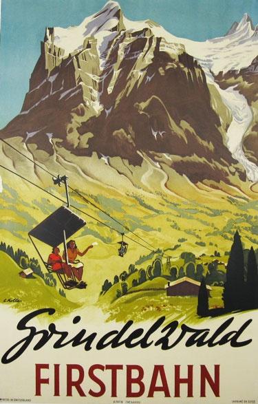 Grindelwald Firstbahn  Item #: TRV-2519  Category: Travel  Artist: Koller  Circa: 1938  Origin: Switzerland  Dim: 25 1/2 x 39 1/2 in.