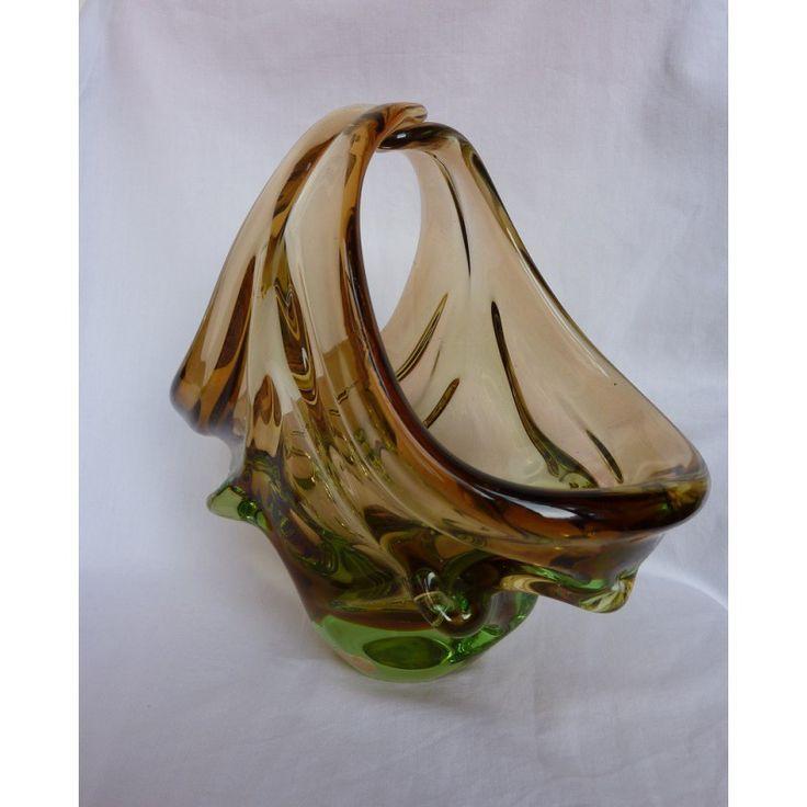 Skrdlovice Glass basket vase/bowl by Jan Beranek 1960s