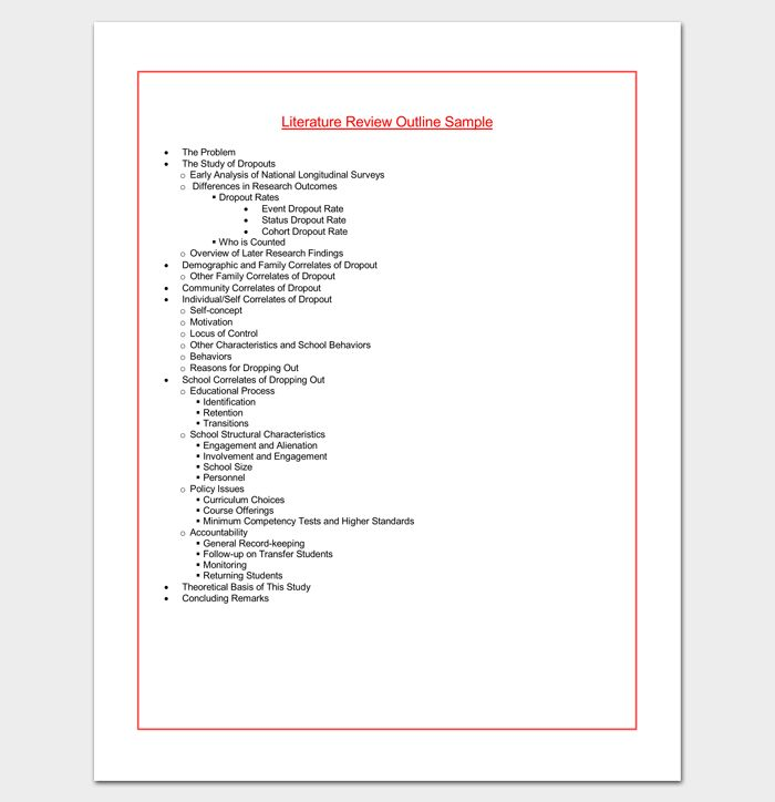 Sample Literature Review Outline
